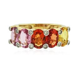 14KT Yellow Gold 4.81 ctw Multicolor Sapphire and Diamond Ring