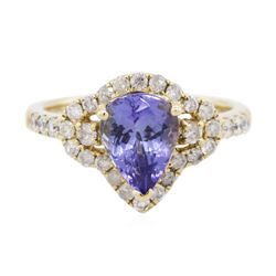 14KT Yellow Gold 1.44 ctw Tanzanite and Diamond Ring