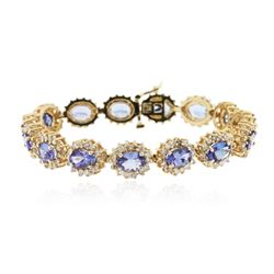 14KT Yellow Gold 9.45 ctw Tanzanite and Diamond Bracelet