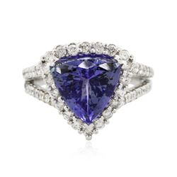 14KT White Gold 4.74 ctw Tanzanite and Diamond Ring