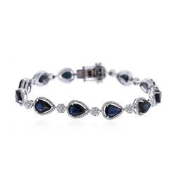 14KT White Gold 16.50 ctw Sapphire and Diamond Bracelet