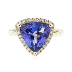 14KT Yellow Gold 3.50 ctw Tanzanite and Diamond Ring
