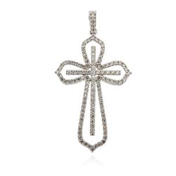 14KT White Gold 1.15 ctw Diamond Cross Pendant