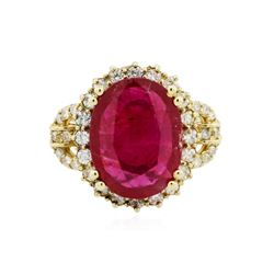 14KT Yellow Gold 5.84 ctw Ruby and Diamond Ring