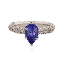 14KT White Gold 1.58 ctw Tanzanite and Diamond Ring