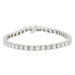 14KT White Gold 4.54 ctw Diamond Tennis Bracelet