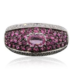14KT White Gold 1.56 ctw Pink Sapphire and Diamond Ring
