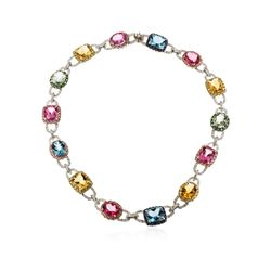 14KT White Gold 80.22 ctw Multi Gemstone and Diamond Necklace
