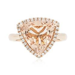 14KT Rose Gold 4.72 ctw Morganite and Diamond Ring
