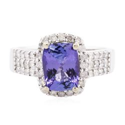 14KT White Gold 2.08 ctw Tanzanite and Diamond Ring