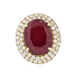 14KT Yellow Gold 13.07 ctw Ruby and Diamond Ring