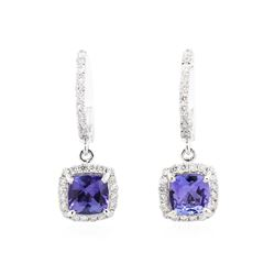 14KT White Gold 2.50 ctw Tanzanite and Diamond Earrings