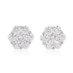 14KT White Gold 1.68 ctw Diamond Earrings