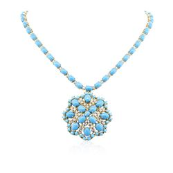 14KT Yellow Gold 30.95 ctw Turquoise and Diamond Necklace