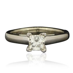 14KT White Gold 0.70 ctw Princess Cut Engagement Ring