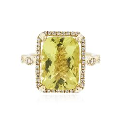 14KT Yellow Gold 6.72 ctw Lemon Quartz and Diamond Ring