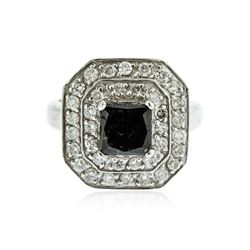 14KT White Gold 2.66 ctw Black Diamond Ring