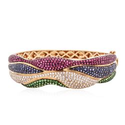 18KT Rose Gold 8.90 ctw Multi Gemstone and Diamond Bracelet