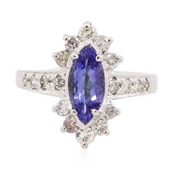14KT White Gold 1.18 ctw Tanzanite and Diamond Ring