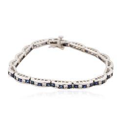 14KT White Gold 3.46 ctw Sapphire and Diamond Bracelet
