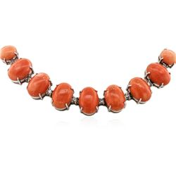 14KT White Gold 75.33 ctw Coral and Diamond Necklace
