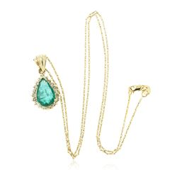 14KT Yellow Gold 2.58 ctw Emerald and Diamond Pendant With Chain