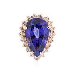 14KT Rose Gold 18.98 ctw GIA Cert Tanzanite and Diamond Ring