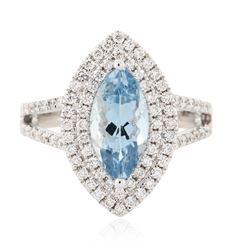 14KT White Gold 1.81 ctw Aquamarine and Diamond Ring