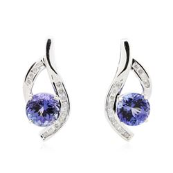 14KT White Gold 6.30 ctw Tanzanite and Diamond Earrings