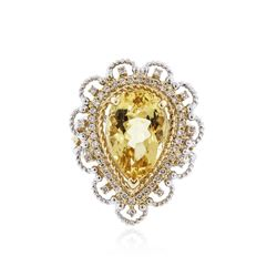 14KT Two-Tone Gold 5.89 ctw Yellow Beryl and Diamond Ring