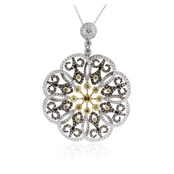18KT White and Yellow Gold 5.79 ctw Diamond Pendant With Chain