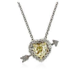 Platinum 1.28 ctw Diamond Pendant With Chain