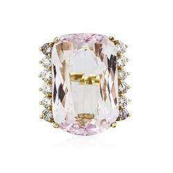 14KT Yellow Gold GIA Certified 65.77 ctw Kunzite and Diamond Ring