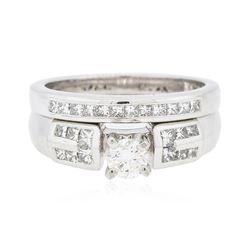 Platinum 0.94 ctw Diamond Ring Wedding Set