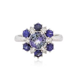 14KT White Gold 1.37 ctw Tanzanite, Sapphire and Diamond Ring