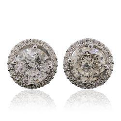 18KT White Gold 3.14 ctw Diamond Stud Earrings