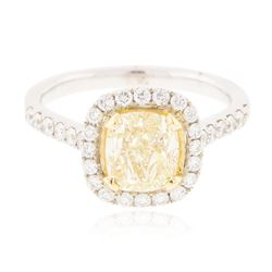 18KT White Gold EGL USA Certified 2.04 ctw VS1/Fancy Yellow Diamond Ring