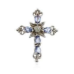 10KT White Gold 1.25 ctw Tanzanite and Diamond Cross Pendant
