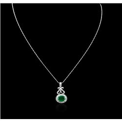14KT White Gold 4.46 ctw Emerald and Diamond Pendant With Chain