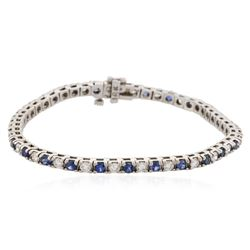 14KT White Gold 1.28 ctw Tanzanite and Diamond Bracelet