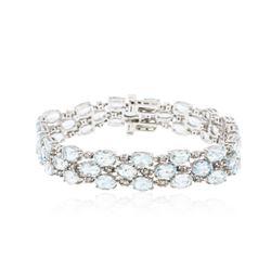 14KT White Gold 19.38 ctw Aquamarine and Diamond Bracelet