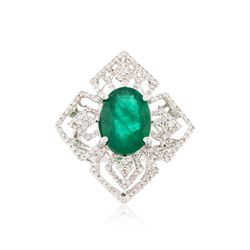 14KT White Gold 5.71 ctw Emerald and Diamond Ring