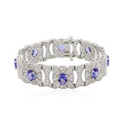 14KT White Gold 11.28 ctw Tanzanite and Diamond Bracelet