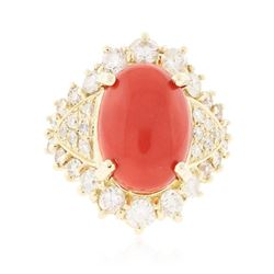 14KT Yellow Gold 7.55 ctw Coral and Diamond Ring