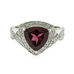 14KT White Gold 2.81 ctw Almandite and Diamond Ring