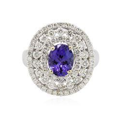 18KT White Gold 2.42 ctw Tanzanite and Diamond Ring