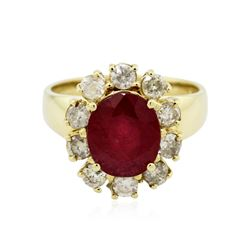 14KT Yellow Gold 3.84 ctw Ruby and Diamond Ring