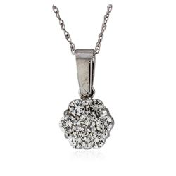 14KT White Gold 0.42 ctw Diamond Pendant With Chain