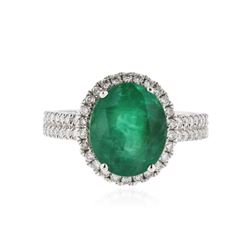 18KT White Gold 3.85 ctw Emerald and Diamond Ring