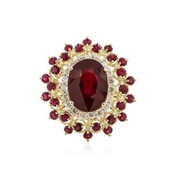 14KT Yellow Gold 11.37 ctw Ruby and Diamond Ring